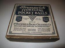 New listing Antique BRUNSWICK BALKE COLLENDER IVORYLENE Pocket Ball Complete Set w Box 1927