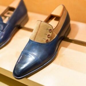 NEW-MENS HANDMADE TWO TONE BUTTON SHOES MEN FORMAL SUEDE & LEATHER SHOES FOR MEN
