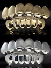 4 pc Grillz Gold & Silver Tone Combo Set Top Bottom Custom Fit w/Molds Teeth