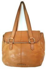 B Makowsky Womens Large British Tan Brown Leather Hobo Shoulder Bag Double Strap