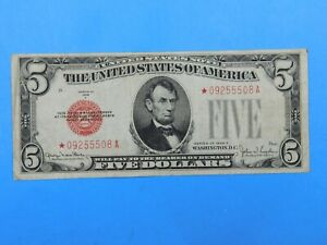 1928 F $5 Red Seal Currency United States Note (#39)