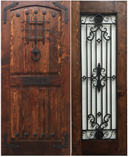 RUSTIC SOLID wood door w/ side lite panel wrought iron speakeasy 48 X 80 prehung