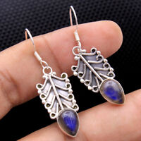 Blue Fire Labradorite Gemstone 925 Sterling Silver Handmade Dangle Earring