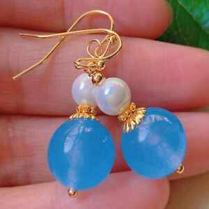 Fashion blue round Chalcedony white pearl bead gold earrings Women CARNIVAL