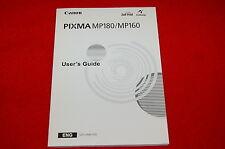 Canon PIXMA MP180/MP160 Printer User's Guide Owners Manual