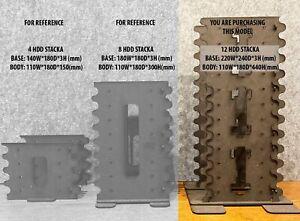 DIY 3.5 inch Hard drive caddy bracket rack, 12 stack, black MDF 3mm