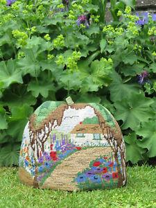 Vintage 1930's Needlework Cross Stitch Tea Cosy Cottage Garden Embroidered Cosie