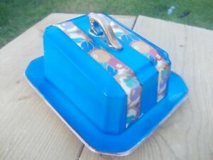 Pretty/Colourful Early Vintage Blue Butter Dish