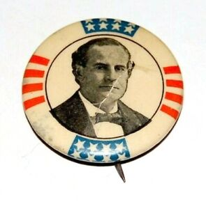 """1900 WILLIAM JENNINGS BRYAN 1.25"""" campaign pinback button political presidential"""