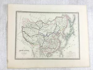 1846 Antique Map of China The Chinese Empire Rare Hand Coloured Engraving