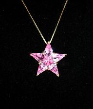 "NEW SUZANNE SOMERS LARGE PINK GOLD VERMEIL/SS STAR PENDANT ON 18"" CHAIN RARE"
