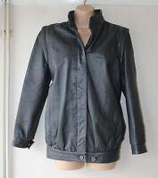 Vintage Grey Leather Hips Length Button Retro Women's Coat Jacket Size M