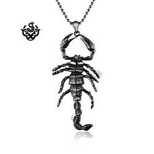 Silver scorpion pendant movable solid stainless steel necklace big size