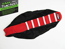 HONDA CRF450 CRF450R 09-12 RIBBED SEAT COVER BLACK + RED + WHITE STRIPES RIBS