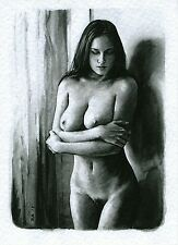 ACEO PRINT NUDO FEMMINILE DIPINTO ACQUERELLO - Watercolour Female Nude 150126
