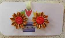 Retro Vintage Clip-On Earrings - 1960's 1970's Orange Daisy Flower - EUC!
