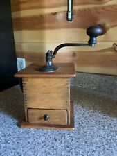 Vintage Tall Coffee Mill Grinder Cast Dovetail With Hand Crank & Side Handle