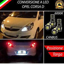 LUCI POSIZIONE A LED + LUCI TARGA A LED CANBUS OPEL CORSA D NO ERROR
