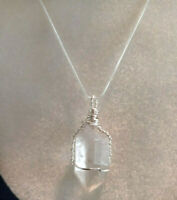 Necklace with Clear Quartz Crystal Point Sterling Sliver Wire Wrapped Valentines