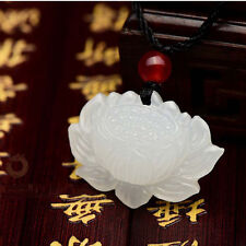 natural hand-carved Chinese jade pendant - White jade lotus Necklaces H1