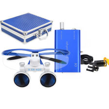 Dental 3.5X Binocular Loupes + 3W LED Head Light w/ Filter + Aluminum Box Blue
