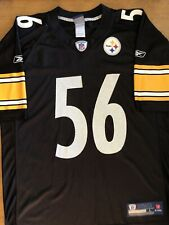 Lamarr Woodley Pittsburgh Steelers Reebok Black Home Jersey #56 Size Large