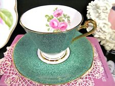 ROSLYN tea cup and saucer floral pink roses green marble teacup pattern footed