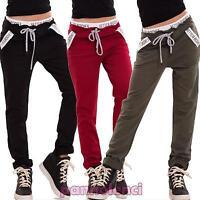 Pantaloni donna tuta cotone cavallo basso elastico tasche fitness nuovi CJ-2389