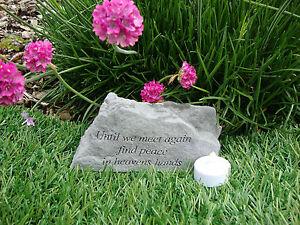 Family Memorial Garden Stone Plaque Grave Marker Ornament until we meet again