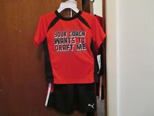 PUMA BOYS 2PC SHORT SLEEVE SHORT SET RED/BLACK SIZE 2T 100% POLYESTER