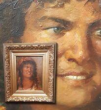 Sicilienne filles. Antique Portrait Peinture à l'huile sign. Fluo PADOLESI (