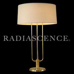 KURT VERSEN MINIMALIST ATOMIC SPACE AGE MODERN LRG BRASS TABLE LAMP 1950s LAUREL