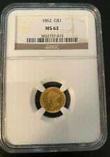 1862 MS62 $1 Gold Liberty Princess Civil War Coin (NGC)