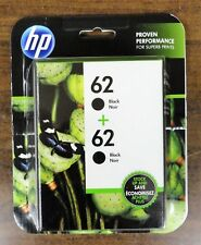 HP 62 Black Twin Pack Printer Ink Cartridges T0A52AN Exp  05/2020 Free Shipping