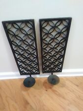 Beautiful Vintage Pair Black Rustic Scroll Wrought Iron Sconce Candle Holders