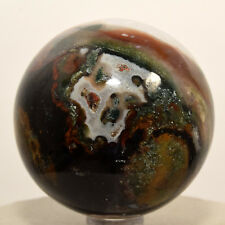 """2.1"""" Black Red Green Agate Sphere Natural Chalcedony Crystal Mineral Ball India"""