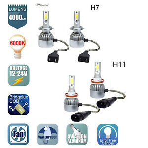 Combo H11 and H7 LED Headlight Bulbs Kit High Low Beam Fog Light 6000K 4 bulbs