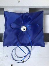 Royal Blue Wedding Engagement Ring Cushion Bearer Pillow Feather Pearls Diamanté