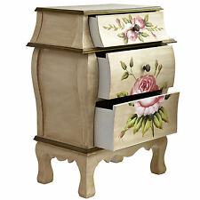 Home Night Lamp Stand Bedroom Furniture 3 drawer Floral Corner Table