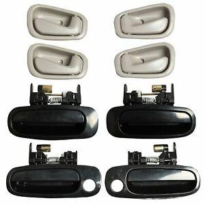 8Pcs Black Outside Gray Inside Left Right Door Handles for 98-02 Toyota Corolla