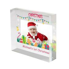 Personalised BABY's FIRST CHRISTMAS Acrylic Photo Block 100mm, Christmas gift