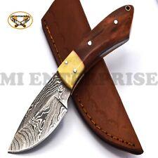 Handmade Damascus Steel Hunting Knife With Bone and Wood Handle /skinner