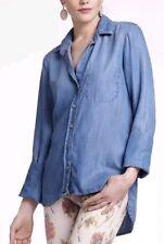 Anthropologie Elevenses Denim Shirt Blue Chambray Blouse Top Size XS
