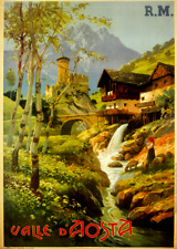 RE-STRIKE Vintage Travel Poster ITALY Valle d'Aosta ITALY FRANCE ALPS Mont Blanc