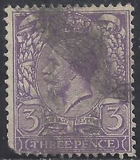 "Great Britain Stamp - Scott #192/A87 3p Violet ""George V"" Canc/Lh 1924"