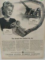 Vintage Print Advertisement Ad 1945 Machine Gun Belt United States Rubber Co.