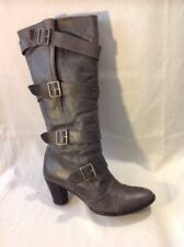 Ladies Grey Knee High Leather Boots Size 39