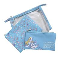 Disney Alice In Wonderland Nonsense 3 Piece Makeup Cosmetic Bag Set Gift NWT!