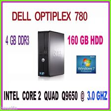 FAST PC DELL INTEL CORE 2 QUAD 3.0GHZ 4GB RAM 160GB HDD DVDRW WINDOWS 7 PRO 64
