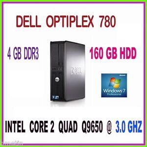 FAST PC DELL INTEL CORE 2 QUAD 3.0GHZ 4GB RAM 160GB HDD DVDRW WINDOWS 7 PRO 64